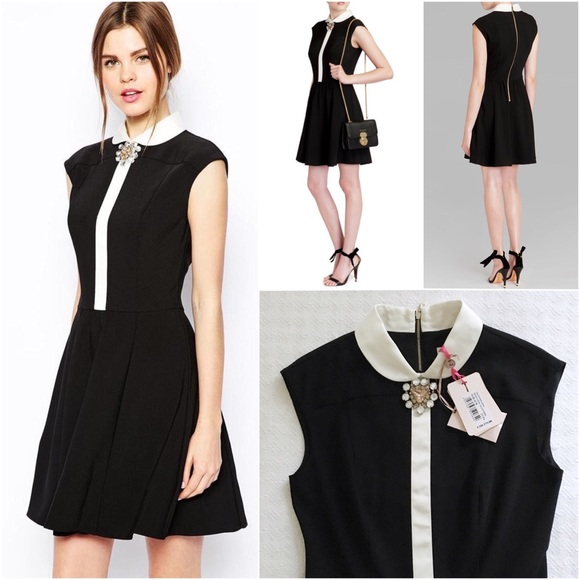 1d6aac139612c3 NWT ted baker flosha brooch collar dress